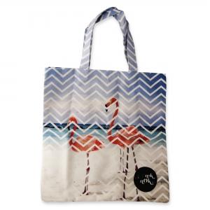 Eco Tote Bag Chevrons and Two Flamingos