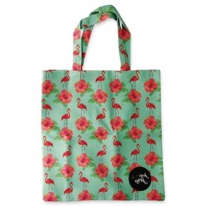 Eco Tote Bag Hibiscus and Flamingo