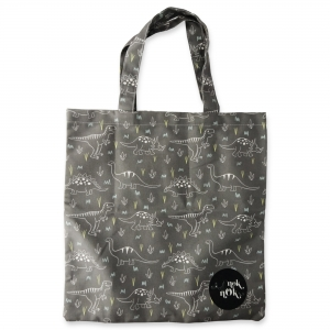 Eco Tote Bag Gray Dinosaurs