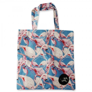 Eco Tote Bag Flamingo Pattern (Blue)