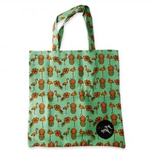Eco Tote Bag Flamingo, Pineapple and Hibiscus
