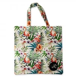 Eco Tote Bag Flamingo, Hibiscus and Leaves