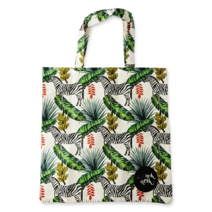 Eco Tote Bag Zebra, Banana and Leaf