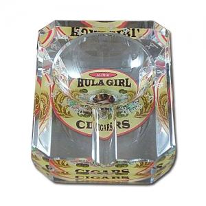 Hula Girl One Small Cigar Crystal Ashtray (Rectangular)