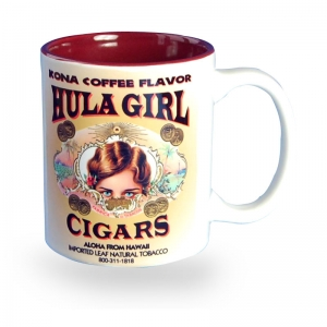 Hula Girl Mug with Cigar Logo Two Tone Maroon 11oz