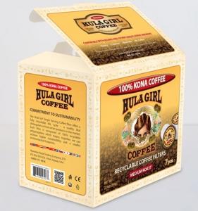 Hula Girl 100% Kona Coffee Recyclable Filters Box of 7 K-Cups