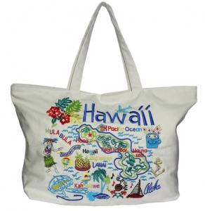 Hawaiian Embroidered Cotton Beach Bag