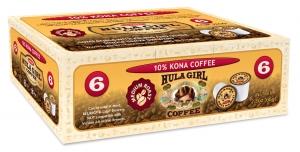 Hula Girl 10% Kona Coffee Box of 6 K-Cups