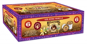 Hula Girl 10% Kona Vanilla Flavored Coffee Box of 6 K-Cups