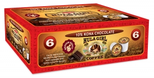 Hula Girl 10% Kona Chocolate Flavored Coffee Box of 6 K-Cups