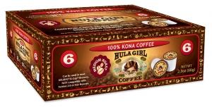 Hula Girl 100% Kona Coffee Box of 6 K-Cups