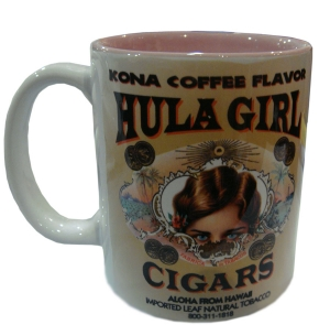 Hula Girl Mug with Cigar Logo Two Tone Pink 11oz