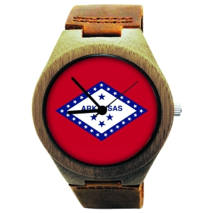 Handmade Wooden Watch Made with Natural Bamboo with State of Arkansas Flag