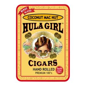 Hula Girl Coconut Mac Nut Small Cigar Tin with 8 Mini Cigars
