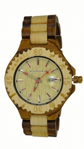 Handmade Wooden Watch Made with Maple and Zebra Wood - Kahala Brand # 10
