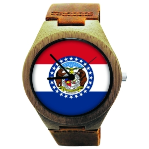 Kahala Wooden Watch Made with Natural Bamboo Wood with State of Missouri Flag