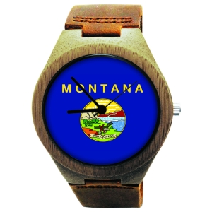Handmade Wooden Watch Made with Natural Bamboo with State of Montana Flag