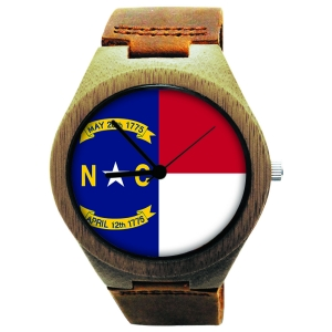 Handmade Wooden Watch Made with Natural Bamboo Wood with State of North Carolina Flag