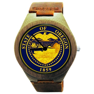 Handmade Wooden Watch Made with Natural Bamboo Wood with State of Oregon Seal