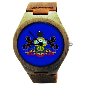 Wooden Watch Made with Natural Bamboo with State of Pennsylvania Flag
