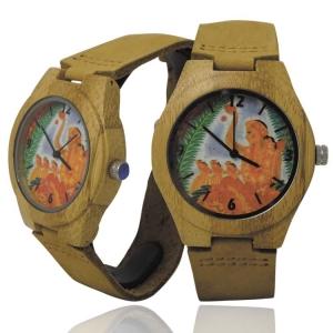 Handmade Kahala Wooden Watch Made With Natural Acacia Koa Wood with Hawaiian Artwork - HGW206