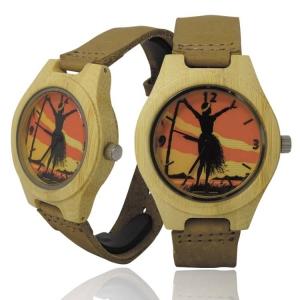 Handmade Kahala Wooden Watch Made With Natural Bamboo Wood with Hawaiian Artwork - HGW210