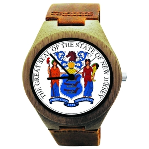 cd48745a264 Handmade Wooden Watch Made with Natural Bamboo with State of New Jersey Seal
