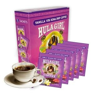 Hula Girl Vanilla 10% Kona Drip Coffee Box of 5