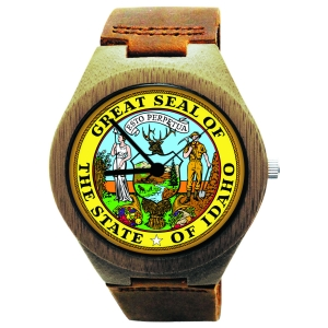 Wooden Watch Made of Natural Bamboo Wood with State of Idaho Seal