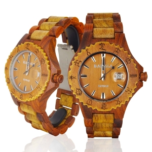 Handmade Wooden Watch Made with Acacia Koa and Red Sandalwood Two Tone Ladies - Kahala Brand # 6
