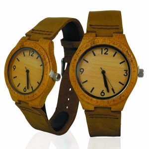 Handmade Wooden Lady Watch Made with Natural Bamboo Wood in Brown Cowhide Leather Strap Kahala Brand- 23B HGW-23B39