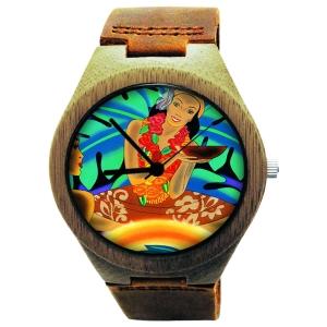 Kahala Wooden Watch Made with Natural Acacia Koa Wood Cowhide Band with Hawaiian Artwork