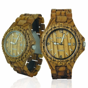 Handmade Wooden Watch Made with Zebra Wood - Kahala Brand # 1Z