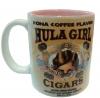 Hula Girl Mug with Cigar Logo Two Tone Pink 11oz