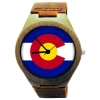Handmade Wooden Watch Made with Natural Bamboo with State of Colorado Flag