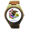 Wooden Watch Made with Natural Bamboo with State of Illinois Flag