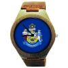 Handmade Wooden Watch Made with Natural Bamboo with State of Maine Flag