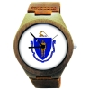 Wooden Watch Made with Natural Bamboo Wood with State of Massachusetts Flag