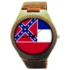Handmade Wooden Watch Made with Natural Bamboo with State of Mississippi Flag
