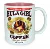 Hula Girl Mug with Coffee Logo Two Tone Pink 11oz
