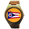 Kahala Wooden Watch Made with Natural Bamboo Wood with State of Ohio Flag