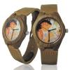 Handmade Kahala Wooden Watch Made With Natural Acacia Koa Wood with Hawaiian Artwork - HGW204