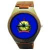 Handmade Wooden Watch Made with Natural Bamboo Wood with State of Vermont Flag