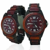 Handmade Wooden Watch Made with Red and Black Sandalwood - Kahala # 2