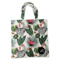 Eco Tote Bag Flamingo, Zebra and Leaves