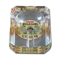 Hula Girl One Small Cigar Crystal Ashtray (Rectangular)