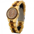 Handmade Hawaiian Style with Petroglyphs Wooden Quartz Watch Made with Maple and Koa Wood Two Tone for Lady - Kahala Brand #4