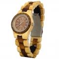 Handmade Hawaiian Style with Petroglyphs Wooden Quartz Watch Made with Maple and Koa Wood Two Tone for Lady - Kahala Brand #4