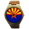 Handmade Wooden Watch Made with Natural Bamboo with State of Arizona Flag