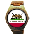 Handmade Wooden Watch Made with Natural Bamboo with State of California Flag